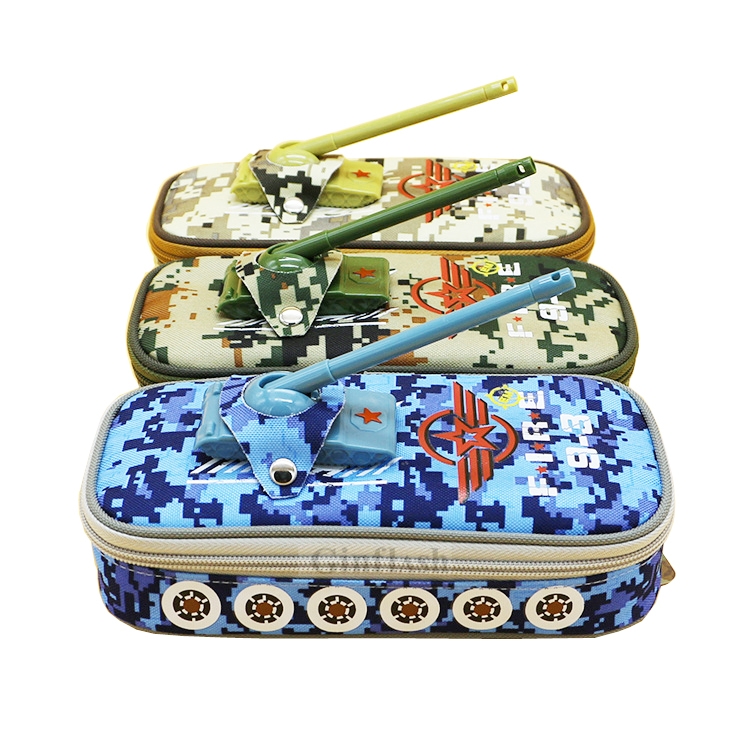 Pencil Case tank pen pouch bag with combination lock boys army zipper camouflage military large Cool school Pencil box random pencil case vehicle pen pouch bag with combination lock boys double zipper camouflage canvas large school pencil box military