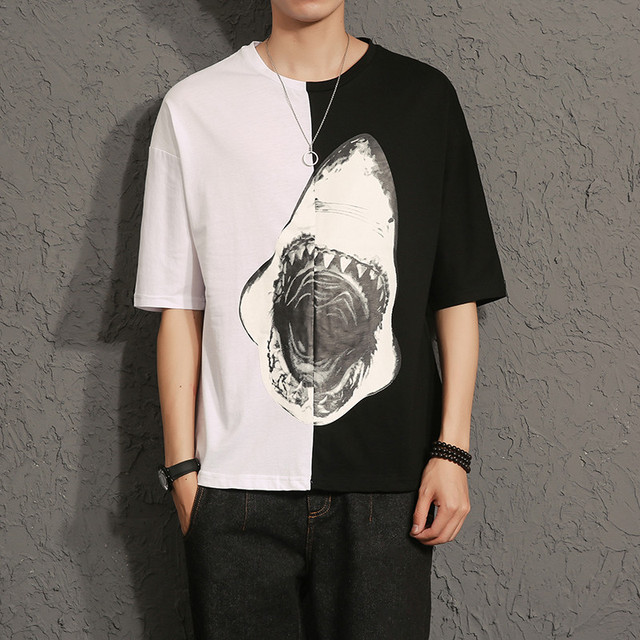c13be7379a8 NEW HOT sale men Casual half sleeve Off White T Shirt Shark head Loose  couple T-shirt plus size 5XL free shipping
