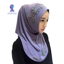New Fashion Muslim Hijab jersey Scarf Embroidery flowers turban Muslim head Scarf Scarves femme hijab