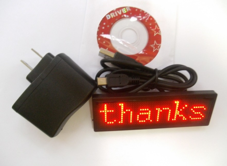 New Red LED message sign display Badge moving scrolling
