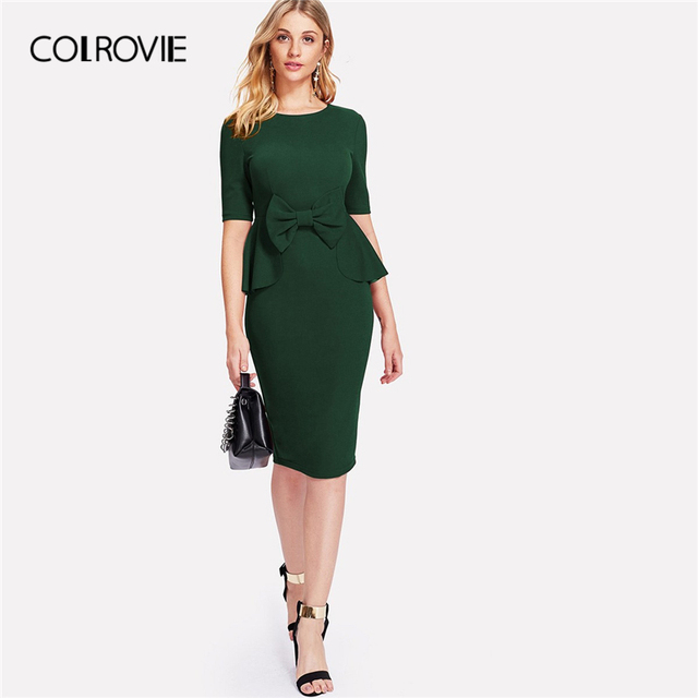 COLROVIE Burgundy Ruffle Bow Peplum Pencil Elegant Dress Women 2019 Green  High Waist Short Sleeve Workwear Midi Party Dresses d15a4368c15a