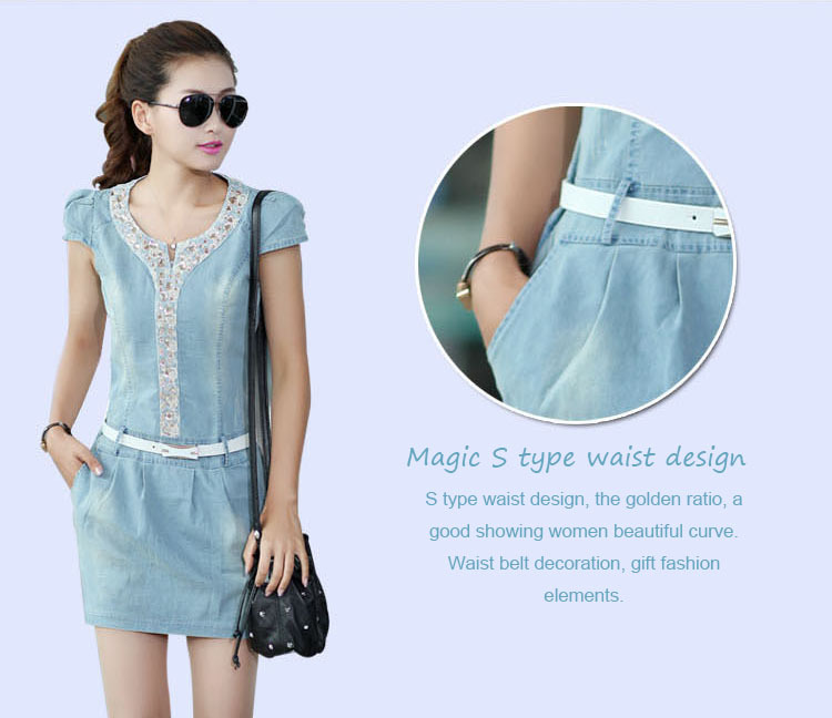 Woman summer DIAMONDS washed denim dress ladies plus size bodycon bandage  dresses girl casual desigual clothing flare sundress-in Dresses from  Women s ... d9ae8a65f