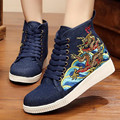 Women's Chinese Dragon Embroidered High-cut Canvas Lace-up Flat Platform Shoe Girls Fashion Casual Shoe for Travel Shopping
