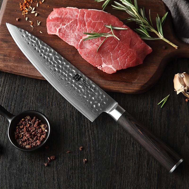 XINZUO 7 sztuk zestaw nóż kuchenny ostrza ze stali nierdzewnej damaszek VG10 szefa kuchni zestaw noży narzędzie Santoku narzędzia kuchenne narzędzia kuchenne w Zestawy noży od Dom i ogród na  Grupa 3