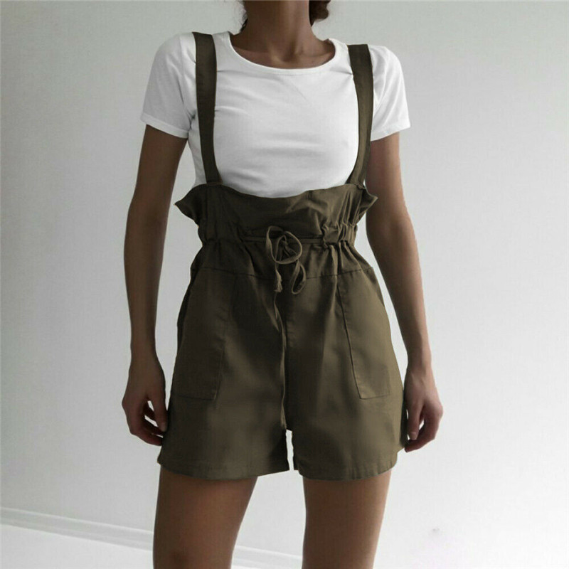 Women Casual Cotton Linen Jumpsuit Shorts Overalls Dungaree Loose Wide Leg Shorts Fashion Ruffles Casual Solid Color Overalls
