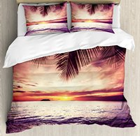 Duvet Cover Set , Tropical Beach under Shadows at Sunset Ocean Waves Serenity of Paradise in Nature, 4 Piece Bedding Set