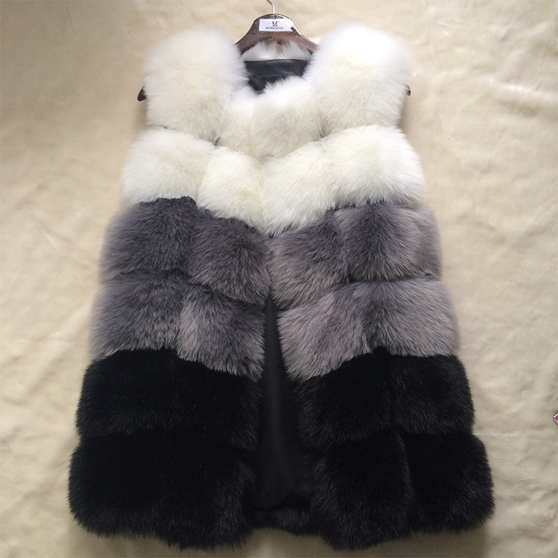 HONGZUO Fur Coat Kvinner Faux Fox Fur Vest Shitsuke Fuorrure Femme Fur Vests Fashion Luksus Peel Women's Jacket Gilet Veste PC216