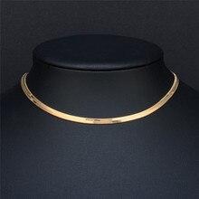 Mostyle Новое поступление ширина 3 мм женское плоское Золотое колье винтажная цепочка Ожерелье для женщин ювелирные изделия
