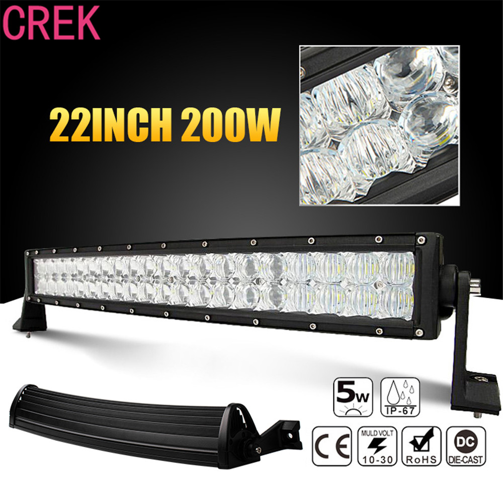 цены CREK 22 inch 200W Car LED Curved Worklight Bar 40x 5D Chips Combo Offroad Light Driving Lamp for Truck SUV 4X4 4WD ATV