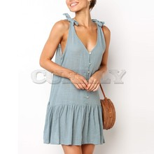 Fashion Summer Bowknot Strappy Short Mini Dress Buttons Sleeveless Loose Casual Beach Womens Party CUERLY de festa