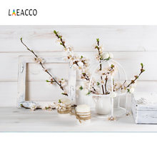 Laeacco Spring Flower Sprout Vase Gray Planks Wooden Frame Pet Doll Baby Portrait Photo Backdrops Photo Backgrounds Photo Studio(China)