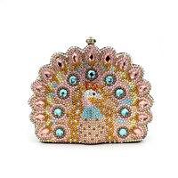Calidad de Embrague Noche Bolsa de Cristal de Pavo Real Animal Forma de Pavo Real de Oro Bolsos de Embrague para Las Mujeres con la Cadena de Oro Del Partido Único Embrague