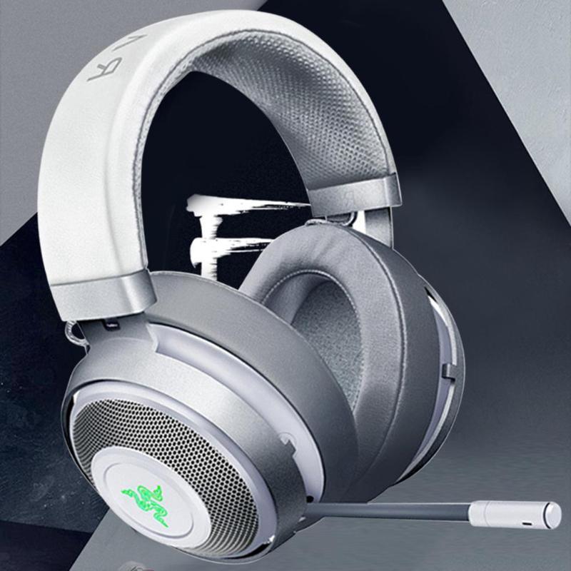 Casques de jeu Razer Kraken 2m filaire noir/blanc 32Ω 123dB casque de jeux sur l'oreille casque avec Microphone pour jeux LOL PUBG - 5