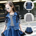 3 pieces suit=vest+Tshirt+skirt 2016 New Autumn kids denim vest stripe T-shirt and denim Lace skirt suit kids tracksuit clothes