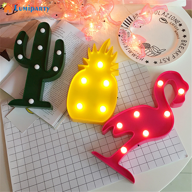 Lumiparty 3D LED Flamingo Lamp Pineapple Cactus Nightlight Romantic Night Light Table LampChristmas Decorations Kids Room Decor