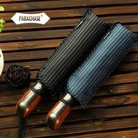 Hot Selling Automatic Umbrellas Men Black And Blue Quality Windproof Uv Folding Umbrella Male Stripe Free