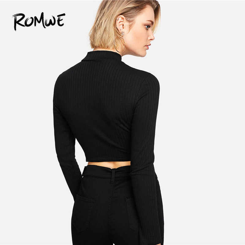 074fe3874329 ... ROMWE Ring Zip Up Front Ribbed Crop Tee Black Zipper Stand Collar T  Shirt Fall Plain ...