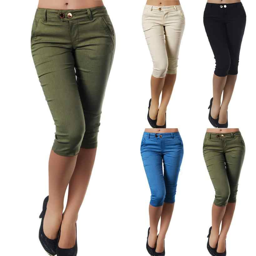 WOMAIL Fashion Women Pencil Pants Fashion Solid Button Women Trousers Plus Size Zipper Casual Cropped Trousers S-5XL 18Aug17
