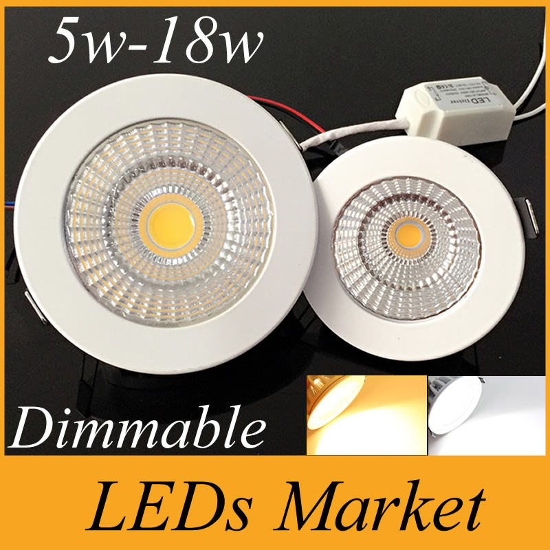 White Shell 5W 7W 9W 12W 15W 18W Led COB Dimmable Downlight Led recessed spot light Warm/ Cool /Nature White AC 110-240V CE UL