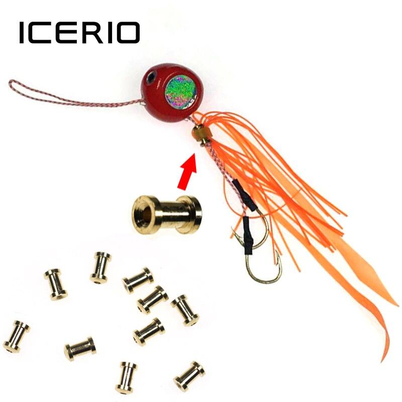 Icerio 100/500/1000 peças corrediça de cobre dos pces snapper iscas acessórios para saias snapper e laço de borracha fix atacado