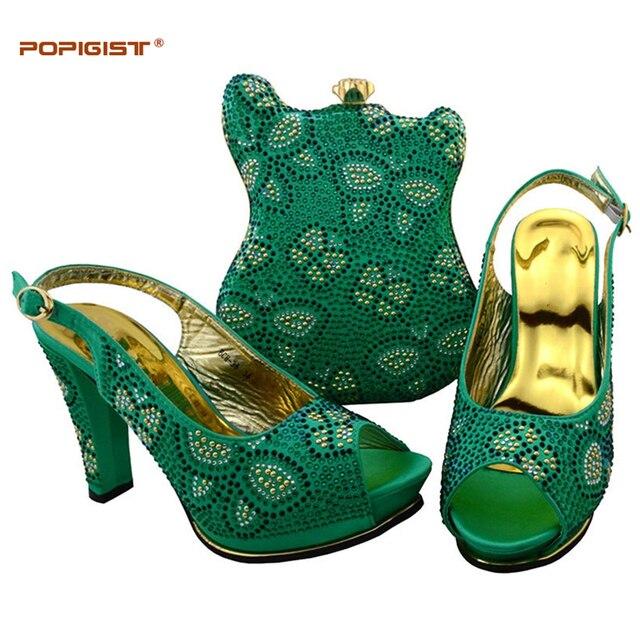 adec691eb579eb Vert d'eau couleur roman design chaussures et sac ensemble ensembles  africains chaussures italiennes avec