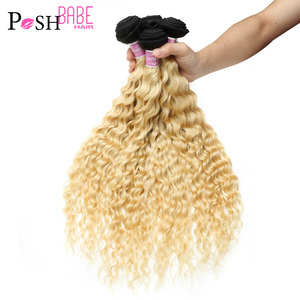 POSH BABE 1/3/4 Pcs Two Tone 1B 613 Blonde Ombre Bundle Deal 8 - 30 Inch Remy Brazilian Deep Wave Human Hair Weave Free Shipping(China)