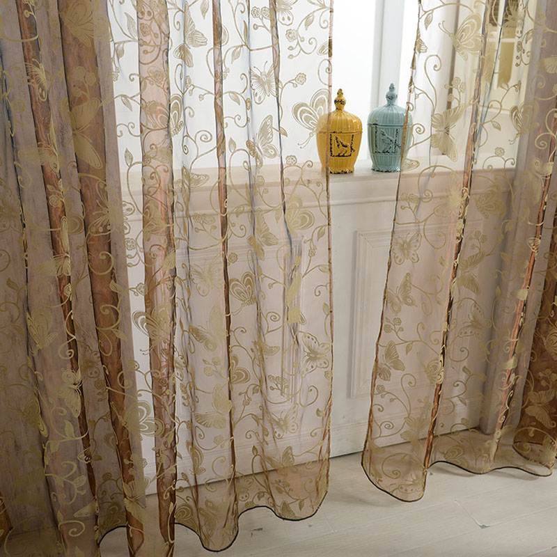 Window Room Butterfly Voile Door Curtain 1*2M Panel Divider Sheer Curtain