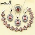 XUTAAYI Red Created Garnet Pretty Wedding Jewelry Set 925 Sterling Silver Overlay Women Earrings Ring Necklace Pendant Bracelet