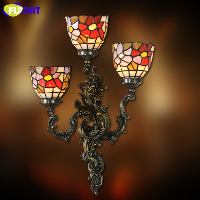 FUMAT Sconce Wall Lights Garden Stained Glass Shade abajur Lamp Corridor Bar Living Room Decoration Mirror Front Light Fixtures