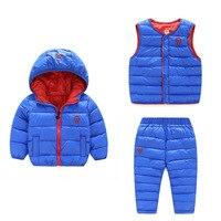 Kinder Set Jungen Mädchen Kleidung Sets Winter 3 Stücke Hoody Unten jacke + Pants + Weste Wasserdicht Schnee Warme kinder Kleidung Anzug kostüm