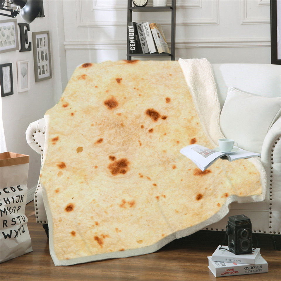 Food Throw Flour Tortilla Throw Blanket Novelty Thicken Blanket Adult/Kids Beach Bed Blanket for All Season Bed, Chair, Couch