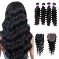 Mink Brazilian Deep Wave Virgin Hair Bundles With Closure Loose Deep Curly Weave Human Hair With Closure Unice Hair With Closure