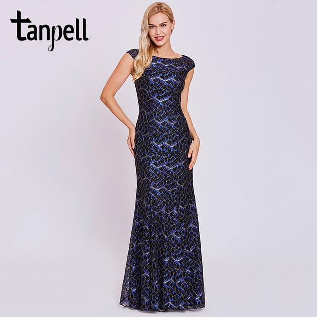 Tanpell lace mermaid evening dresses black hollow cap sleeveless ...