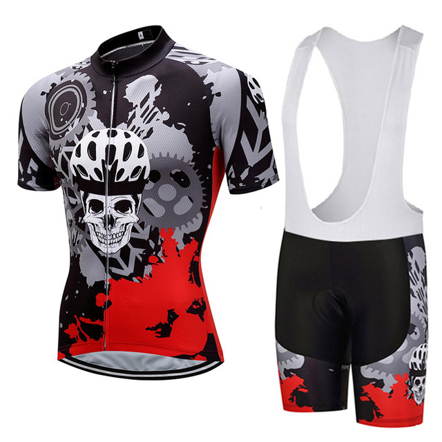 Men's SKULL Short Sleeve Cycling Jerseys Bib Sets