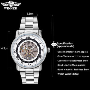Image 3 - 2016 WINNER china brand men business mechanical hand wind watch skeleton dial silver case transparent glass stainless steel band
