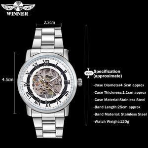 Image 3 - 2016 WINNER 중국 브랜드 남자 비즈니스 기계 손 바람 시계 해골 다이얼 실버 케이스 투명 유리 스테인레스 스틸 밴드