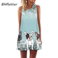 BHflutter, летнее платье с принтом собаки,, женское короткое повседневное Свободное платье, сарафан без рукавов, Мини шифоновое платье, vestidos de verano