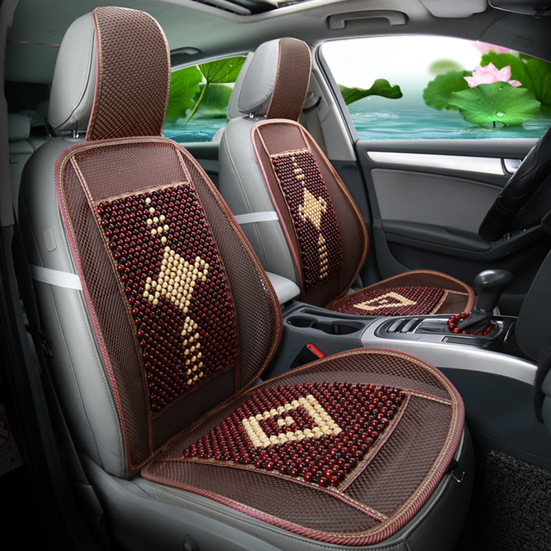 KKYSYELVA 1pcs Car seat Cover Summer Bamboo Lumbar support for office home Chair Seat Cushion Cover Black Seat covers