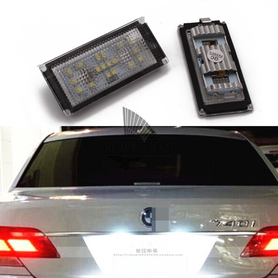 Error Free White 18LED Number License Plate Lights for E66 E65 BMW 06-08 7-Series 735i 750Li 760Li 2x e marked obc error free 24 led white license number plate light lamp for bmw e81 e82 e90 e91 e92 e93 e60 e61 e39 x1 e84