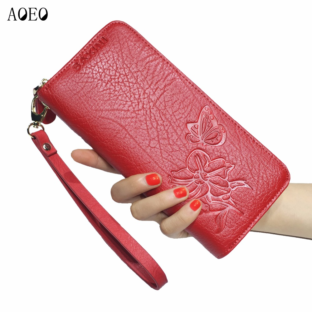 AOEO wallet women genuine leather Purse Long Slim Wallets with Zipper coin purse Best Gifts for girls FLower ladies wallet Red