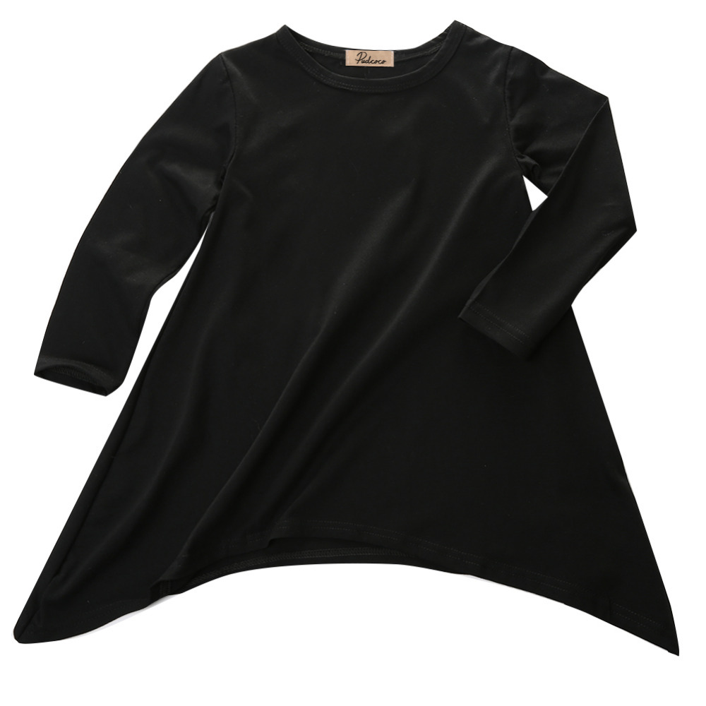Fashion-Baby-Girls-Kid-Spring-Swing-Max-Batwing-Full-Dress-Black-O-Neck-Loose-Asymmetric-Party-Dress-1