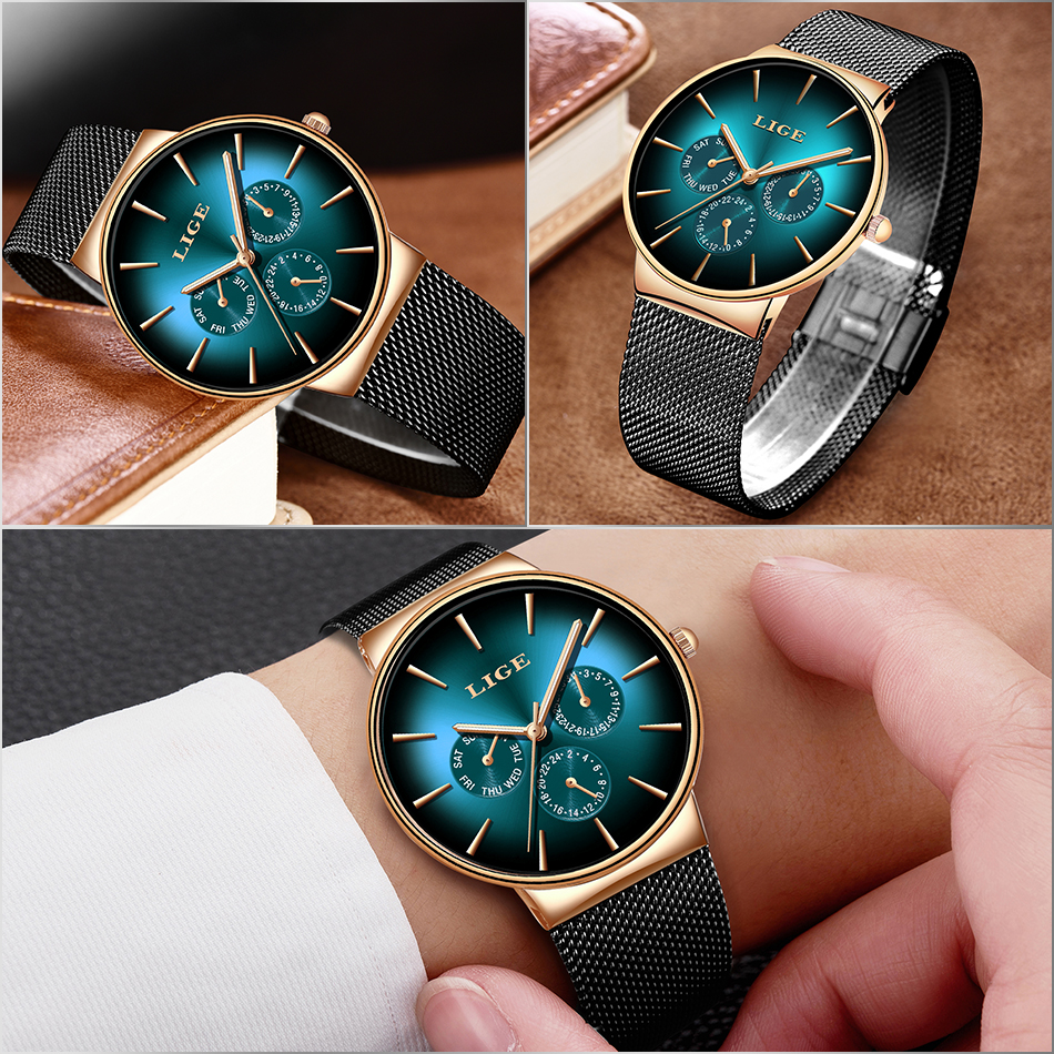 HTB1CjBnThnaK1RjSZFtq6zC2VXaS 2019 LIGE Casual Thin Mesh Belt Fashion Quartz Gold Watch Mens Watches Top Brand Luxury Sport Waterproof Clock Relogio Masculino