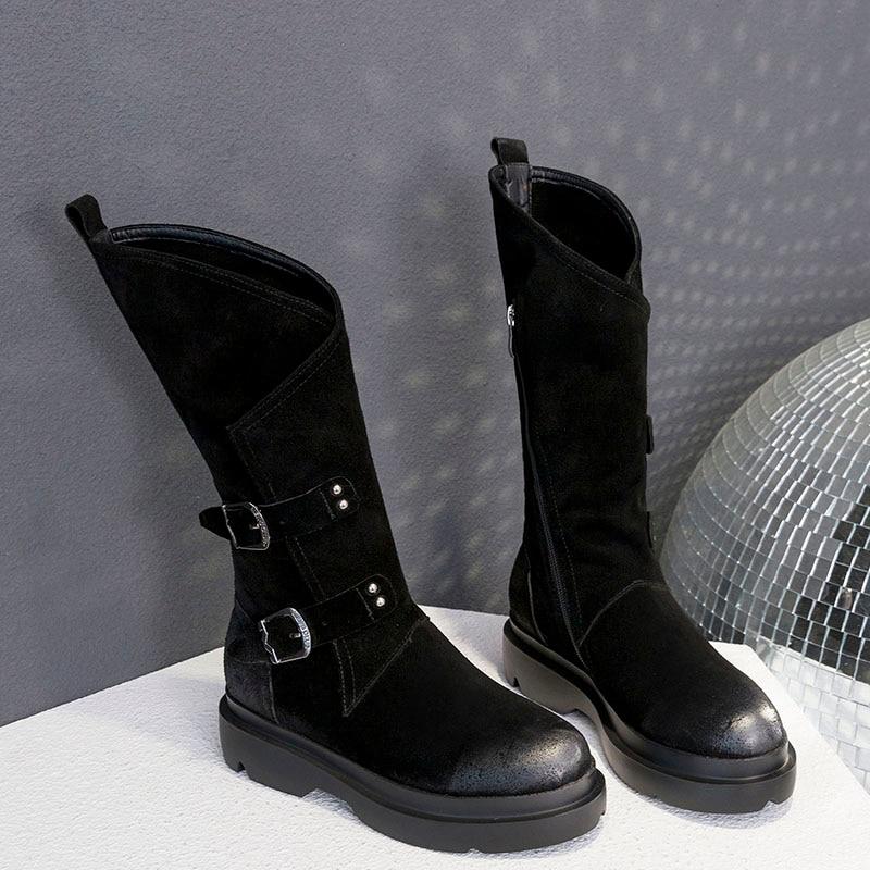 Prova Femmes Bottes Véritable Mode En Cuir Punk Black Perfetto forme De Plate Étanche Martin Rétro Moto Femme IEDH29