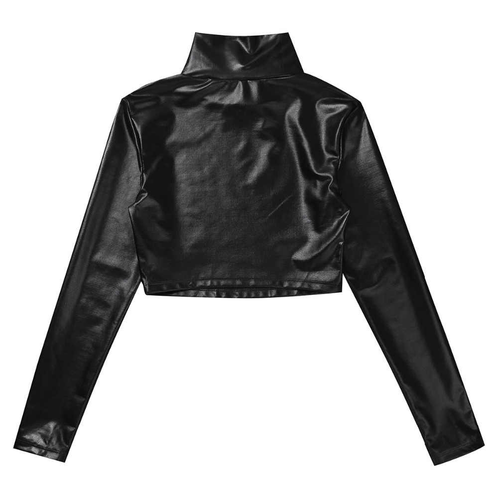6591492a8ed ... Sexy Hot Women Shiny Patent Leather Long Sleeve Mock Neck Turtleneck  Crop Top Costume Cosplay Evening ...
