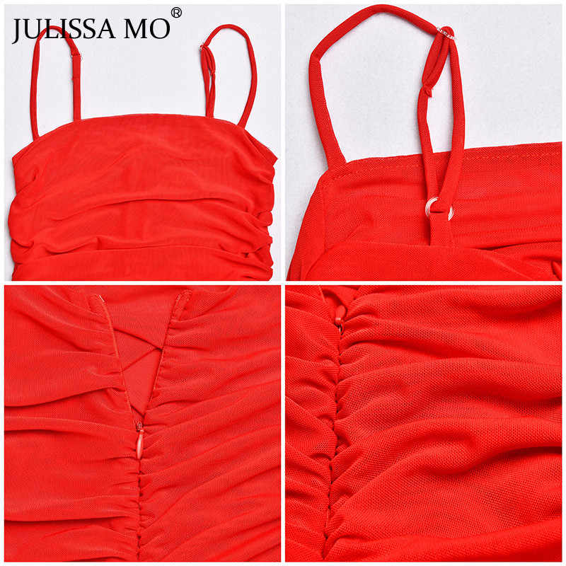 Женское пляжное платье JULISSA MO, с тонкими бретельками и открытой спиной, летнее прозрачное короткое платье со складками, неоновое платье для вечеринок