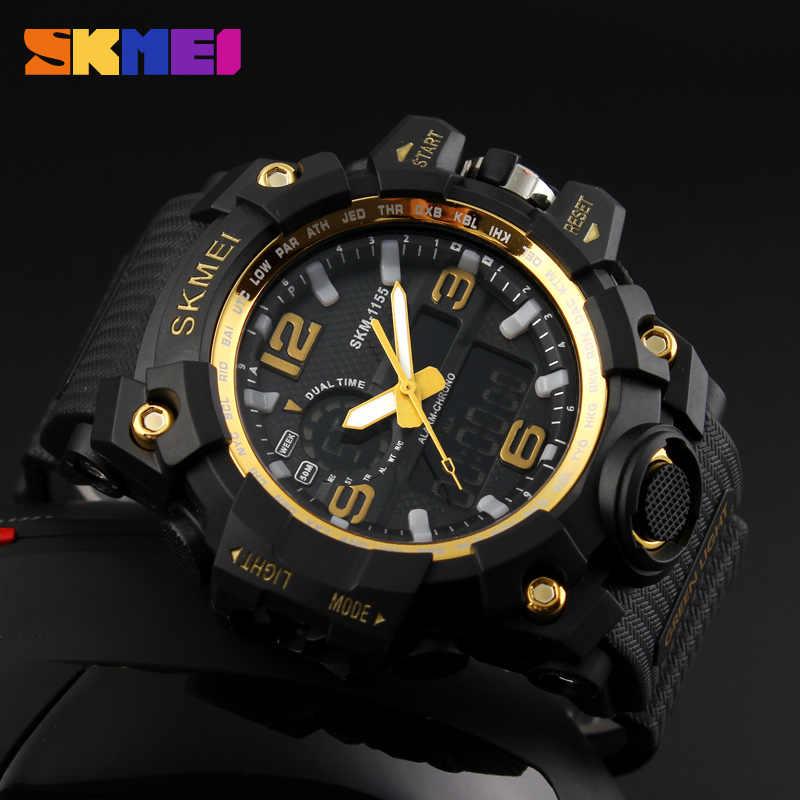 ... SKMEI Relogio Masculino для мужчин кварцевые цифровые часы 2 время  Военная Униформа армии спортивные часы водостойкие 8638ce607b251