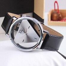 Hot Sales 2015 New Popular Unisex Charm Glass Hollow Triangle Dial Faux Leather Analog Quartz Wrist Watch  5V9W