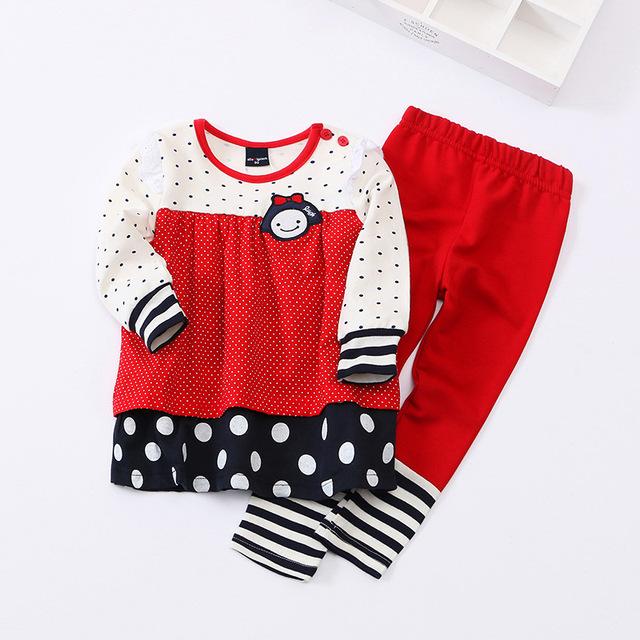 2 3 4 años niñas otoño ropa linda set 2 unids shirt + pants kids primavera ropa de algodón envío gratis