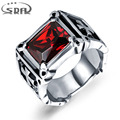 SDA Fashion Men's Ring The Punk Rock Accessories 316L Stainless Steel Red Black AAA+ CZ Biker Rings For Men R022