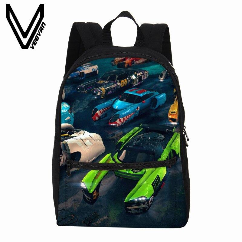 2c2e2b25d19 VEEVANV Men Backpacks Cool Rucksack Crash Car Printing Children Shoulder  Bag School Backpacks Fashion Canvas Teenagers Backpack